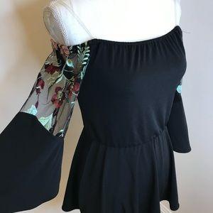 ECI Floral Off Shoulder Black Peplum Top Size 4